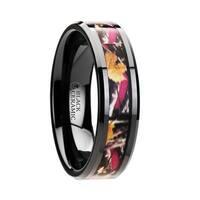 LAUREL Polished Flat Style Black Ceramic Wedding Ring with Real Camo Pink Oak Leaves Inlay and Polished Beveled Edges Co