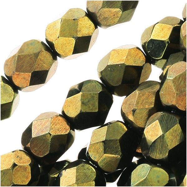 Czech Fire Polished Glass Beads 6mm Round 'Metallic Green' (25)
