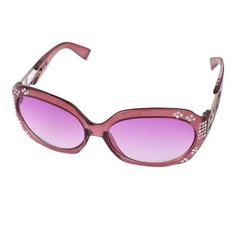 Lady Faux Rhinestone Decor Leopard Print Plastic Frame Sunglasses - Light Purple
