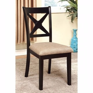 Transitional Side Chair, Fabric With Black Finish, Set Of 2