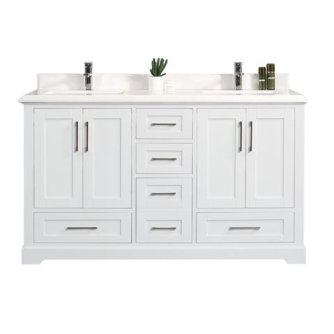 Willow Collection 60 in W x 22 in D x 36 in H Boston Double Bowl Sink Bathroom Vanity with Countertop