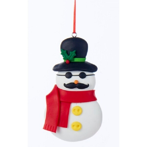 """4"""" Cute Claydough Mustached Snowman with Red Scarf and Sun Glasses Christmas Ornament"""