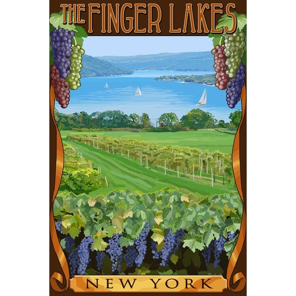 The Finger Lakes, New York - Vineyard Scene - Lantern Press Artwork (Acrylic Serving Tray)