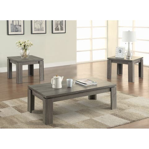 Cumberbatch Weathered Grey 3-piece Floating Top Occasional Set