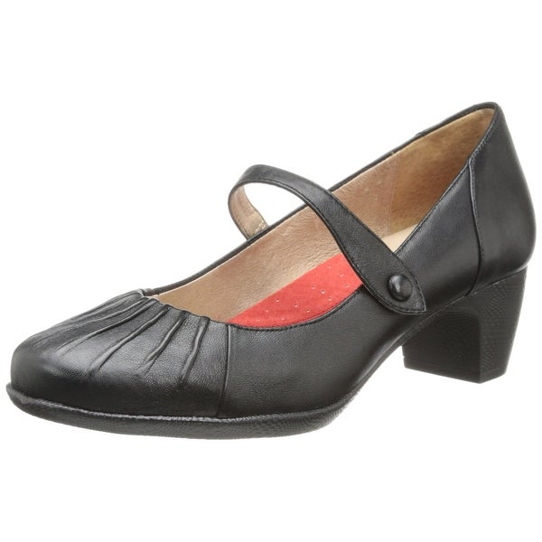 SoftWalk NEW Black Shoes Size 7N Pleated Mary Janes Leather Heels