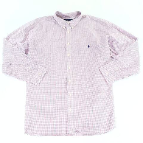 Ralph Lauren Mens Shirt Red Size 3XLT Classic-Fit Poplin Button-Front