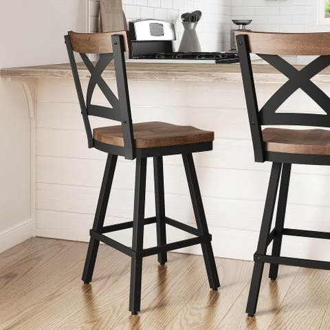 Amisco Jasper Swivel Counter and Bar Stool with Distressed Wood Seat