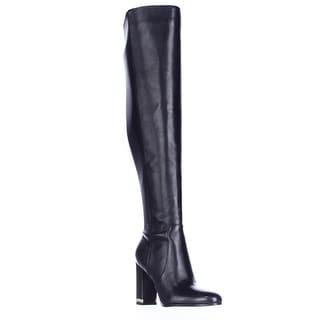 MICHAEL Michael Kors Sabrina Over The Knee Chain Heel Boots - Black