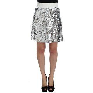 Dolce & Gabbana Silver Sequined A-Line Skirt