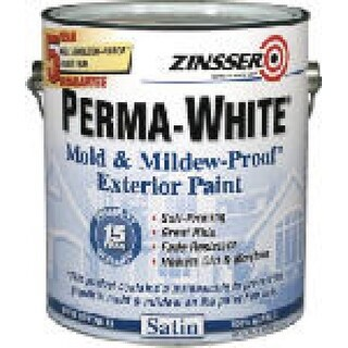 Zinsser Perma-White Mildew Proof Exterior Paint, White Satin, 1-Gallon