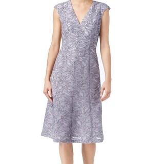 Anne Klein NEW Gray Stone Women's Size 4 Sheath V-Neck Burnout Dress