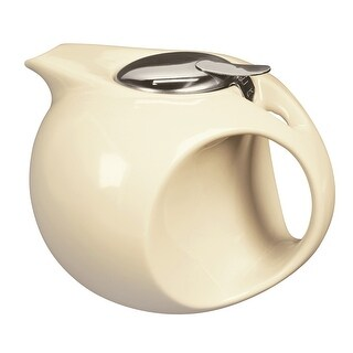 Art Deco Teapot - Ceramic - Pale Yellow - 45 Ounce