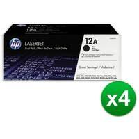 HP 12A Black Original LaserJet Dual Toner Cartridge (Q2612D)(4-Pack)