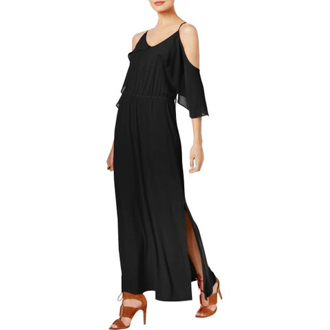 NY Collection Womens Maxi Dress Sheer Popover Cold Shoulder