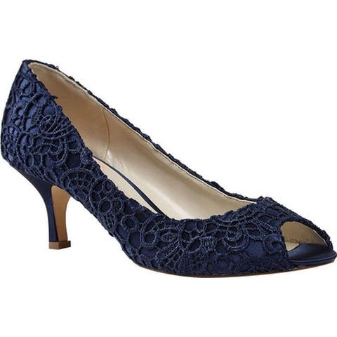 Pink Paradox London Women's Emotion Peep Toe Pump Navy Lace/Satin
