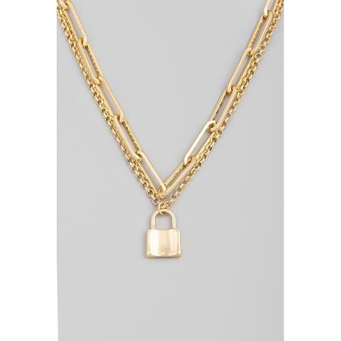 Women's Padlock Pendant Layered Fashion Statement Necklace