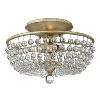 Fredrick Ramond FR43751 2-Light Semi-Flush Ceiling Fixture from the Caspia Collection - silver leaf - n/a