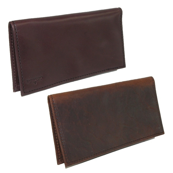 Boston Leather Smooth Leather & Bison Leather Checkbook Set (Pack of 2) - One size