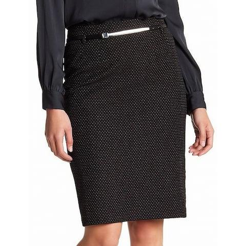 Amanda + Chelsea Black Womens Size 12P Petite Belted Pencil Skirt