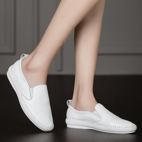 The Fall Of New Shoes Leather Shoes White Flat Shoes