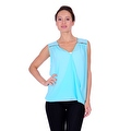 Simply Ravishing Women's Sheer Low V Neck Sleeveless Layered Chiffon Blouse Tank Top - Thumbnail 0