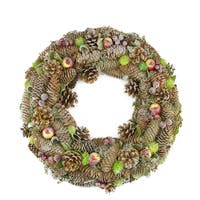 "19.5"" Natural Pine Cone and Fruit Glitter Artificial Christmas Wreath - Unlit - green"