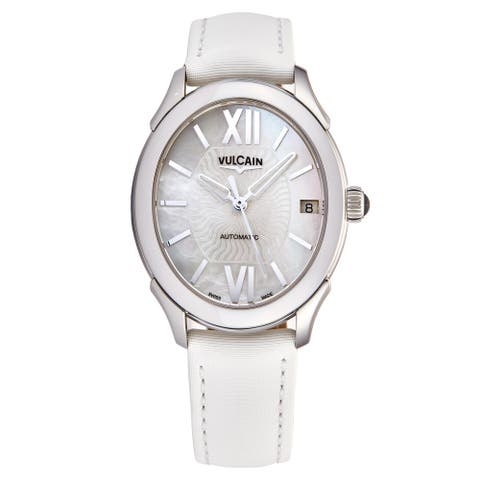 Vulcain Women's 610164N20BAS412 'First Lady' Mother of Pearl Dial White Satin Leather Strap Automatic Watch