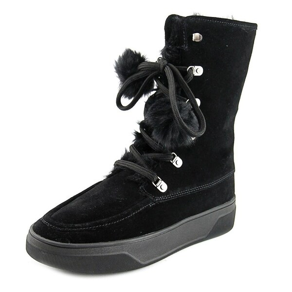 Michael Michael Kors Juno Lace Up Women Round Toe Suede Black Winter Boot