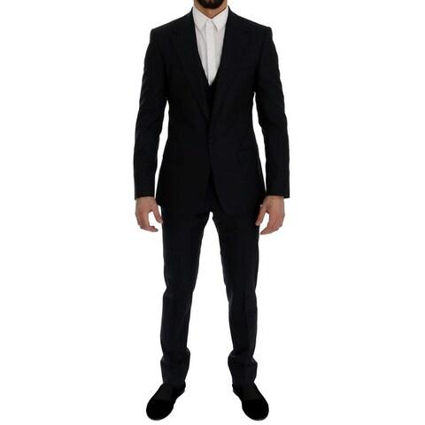 Dolce & Gabbana Dolce & Gabbana Blue Wool Silk Slim Fit 3 Piece Suit