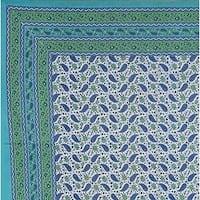 Handmade 100% Cotton Paisley Tablecloth Tapestry Coverlet Bedspread 85x90 Aqua Full