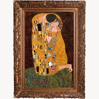The Kiss, Full View by Gustav Klimt Framed Hand Painted Oil on Canvas