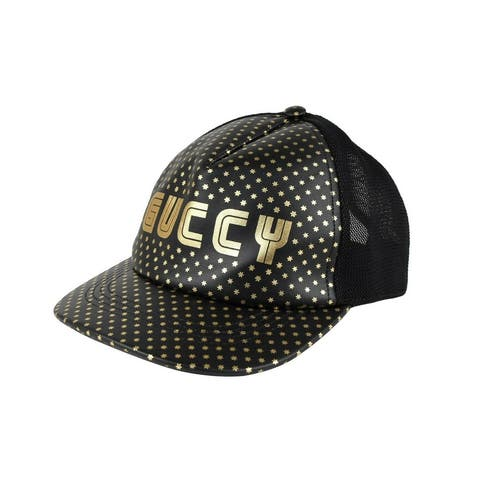 "Gucci Men's ""GUCCY"" Sega Black Leather Mesh Baseball Hat with Star Print M / 58 426887 1060 - M / 58"