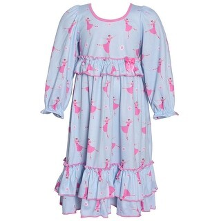 Laura Dare Little Girls Blue Pink Dancer Print Long Sleeved Nightgown