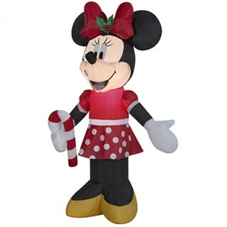 Gemmy 39049 Christmas Airblown Inflatable Minnie Holding A Candy Cane, 3.5'