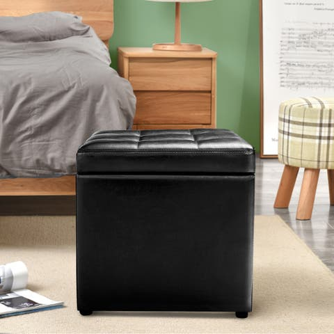 PU Leather Upholstery 16-inch Cube Storage Box Ottoman with Hinge Top