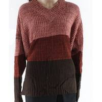 Jason Maxwell Pink Womens Size 2X Plus Two Tone Knitted Sweater