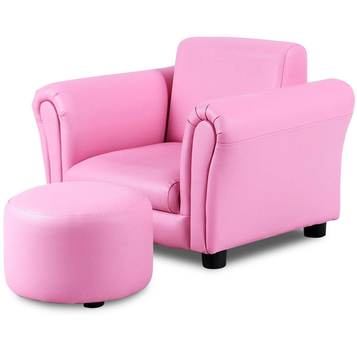 Incredible Costway Pink Kids Sofa Armrest Chair Couch Children Toddler Birthday Gift W Ottoman Caraccident5 Cool Chair Designs And Ideas Caraccident5Info