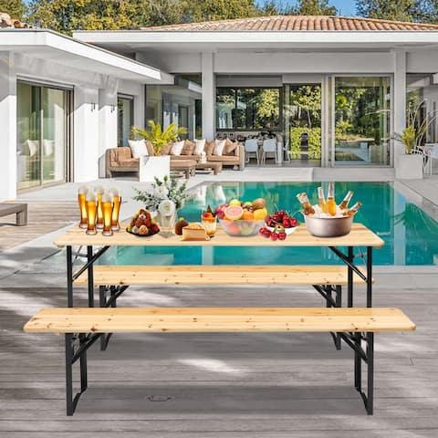 Solid Wood Folding Picnic Dining Set