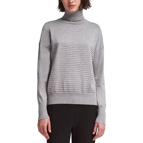 DKNY Womens Turtleneck Sweater Metallic Striped