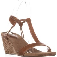 SC35 Mulan T-Strap Wedge Sandals, Coffee