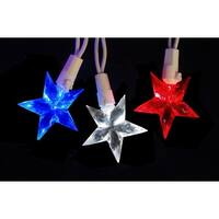 Set of 30 LED Red  White & Blue 4th of July Patriotic Star Lights - White Wire