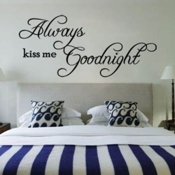 shop always kiss me goodnight quote removable diy wall sticker decal