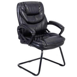 Costway Black Mid Back Sled Base Guest Visitor Chair Office Desk Side Chair