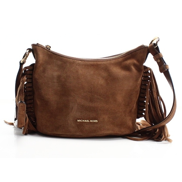 ac9a0b21e09050 Michael Kors NEW Brown Dark Caramel Billy Fringe Suede Zip Purse Bag