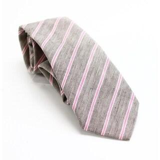 Ledbury Brown Pink Ames Striped Men's Neck Tie Cotton Accessory