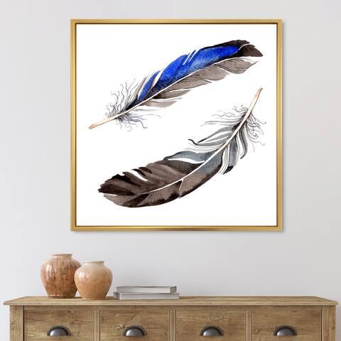 Designart 'Colourful Boho Feathers III' Bohemian & Eclectic Framed Canvas Wall Art Print