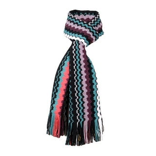 Link to Missoni Black Crochet Knit Long Zigzag Fringe Scarf - 20-71 Similar Items in Scarves & Wraps