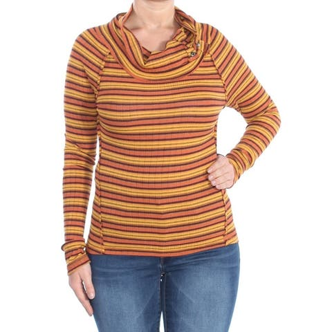 FREE PEOPLE Womens Yellow Striped Thermal Long Sleeve Cowl Neck Evening Top Size: L