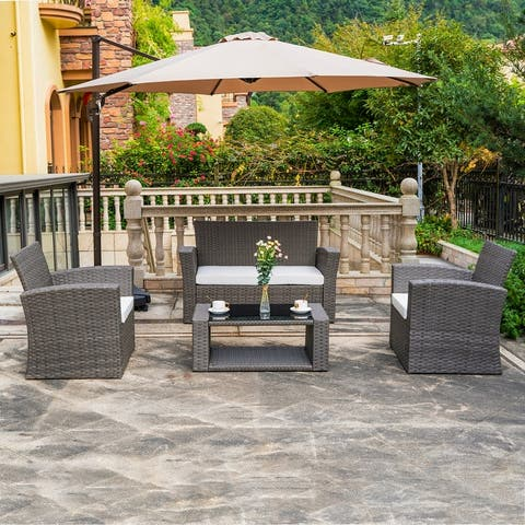 Grandview Outdoor 4-piece Grey Wicker Conversation Set with Cushions