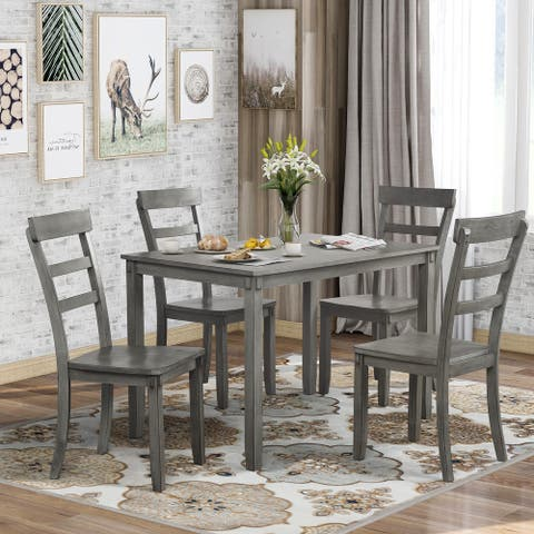 Grey 5 Pieces Dining Table Set